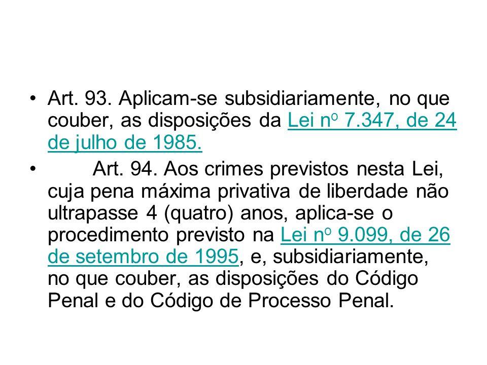 Art. 93. Aplicam-se subsidiariamente, no que couber, as disposições da Lei n o 7.347, de 24 de julho de 1985.Lei n o 7.347, de 24 de julho de 1985. Ar