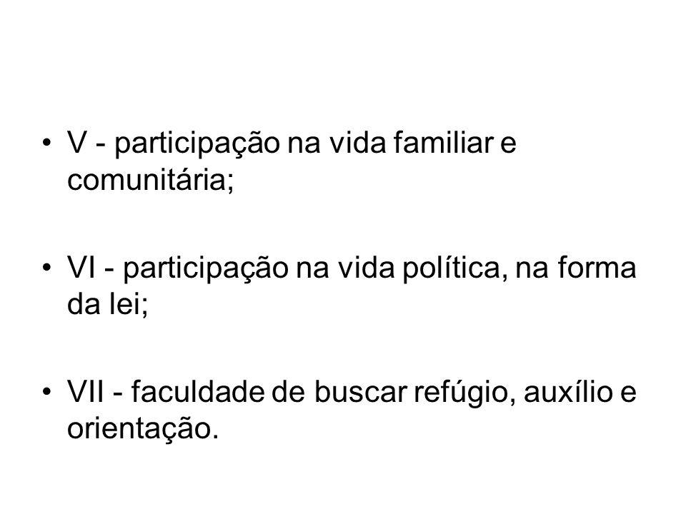 V - participação na vida familiar e comunitária; VI - participação na vida política, na forma da lei; VII - faculdade de buscar refúgio, auxílio e ori