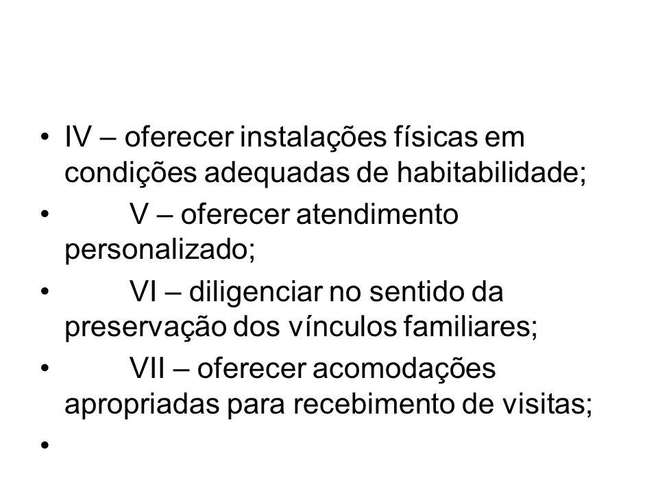 IV – oferecer instalações físicas em condições adequadas de habitabilidade; V – oferecer atendimento personalizado; VI – diligenciar no sentido da pre