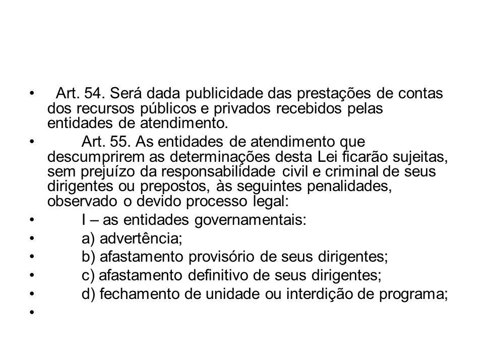 Art. 54. Será dada publicidade das prestações de contas dos recursos públicos e privados recebidos pelas entidades de atendimento. Art. 55. As entidad
