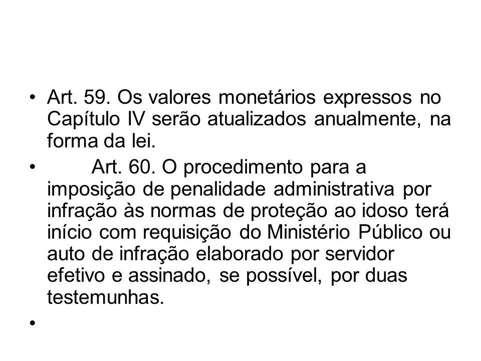 Art. 59. Os valores monetários expressos no Capítulo IV serão atualizados anualmente, na forma da lei. Art. 60. O procedimento para a imposição de pen