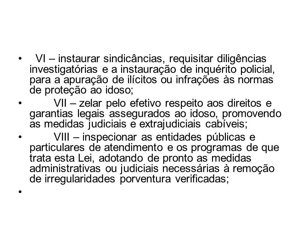 VI – instaurar sindicâncias, requisitar diligências investigatórias e a instauração de inquérito policial, para a apuração de ilícitos ou infrações às