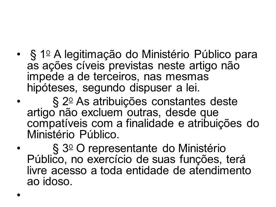 § 1 o A legitimação do Ministério Público para as ações cíveis previstas neste artigo não impede a de terceiros, nas mesmas hipóteses, segundo dispuse
