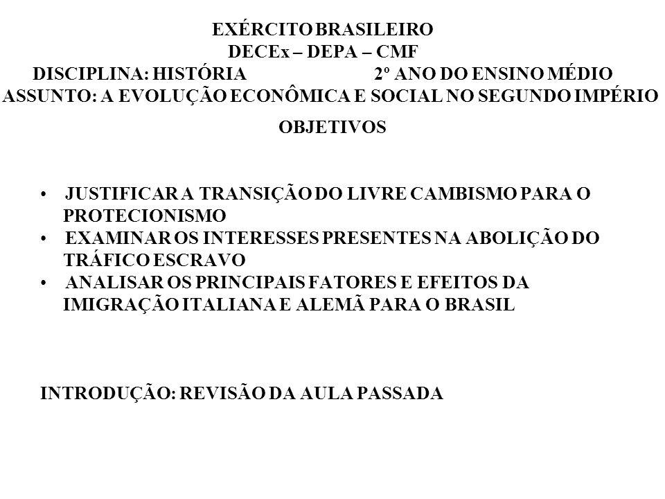 EXÉRCITO BRASILEIRO DECEx – DEPA – CMF DISCIPLINA: HISTÓRIA 2º ANO DO ENSINO MÉDIO ASSUNTO: A EVOLUÇÃO ECONÔMICA E SOCIAL NO SEGUNDO IMPÉRIO OBJETIVOS