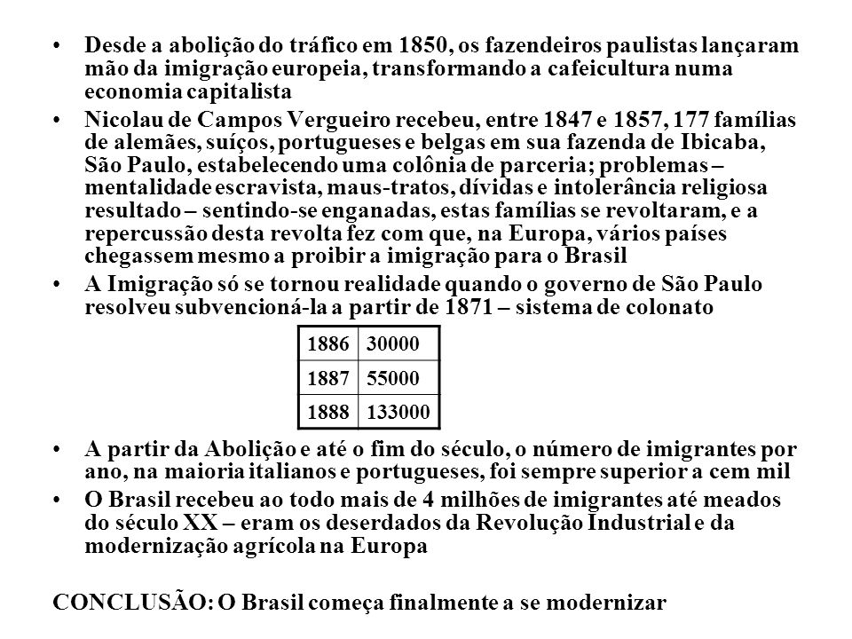 Desde a abolição do tráfico em 1850, os fazendeiros paulistas lançaram mão da imigração europeia, transformando a cafeicultura numa economia capitalis
