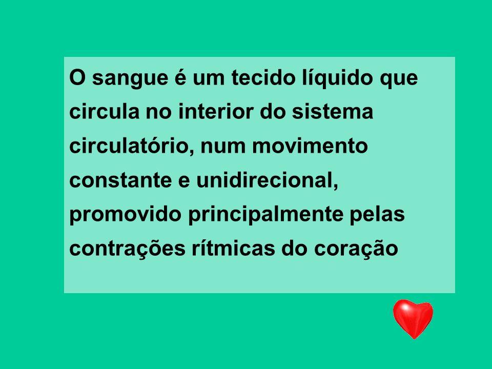 O sangue é um tecido líquido que circula no interior do sistema circulatório, num movimento constante e unidirecional, promovido principalmente pelas