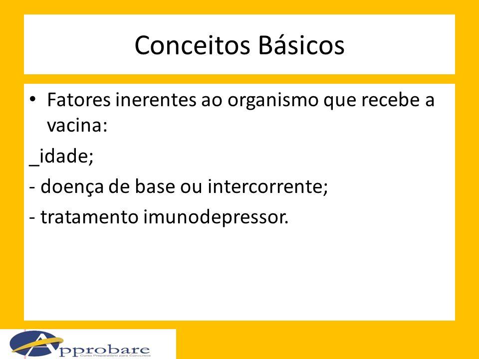 Conceitos Básicos Fatores inerentes ao organismo que recebe a vacina: _idade; - doença de base ou intercorrente; - tratamento imunodepressor.