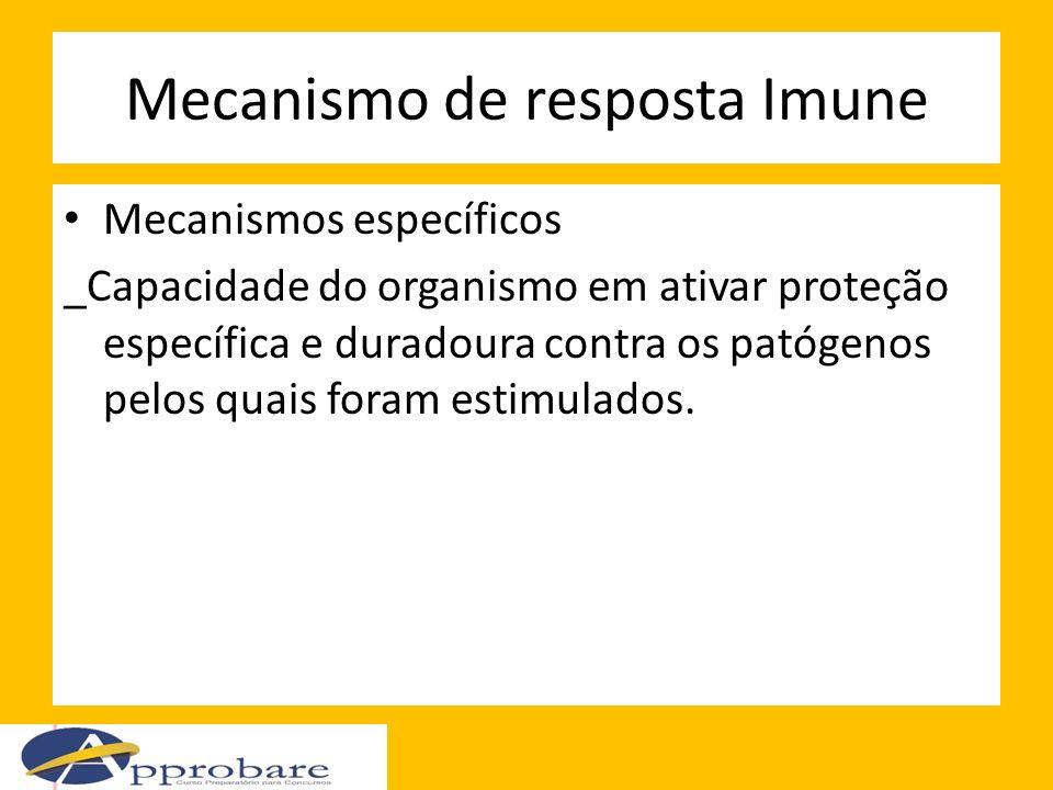 Mecanismo de resposta Imune Mecanismos específicos _Capacidade do organismo em ativar proteção específica e duradoura contra os patógenos pelos quais