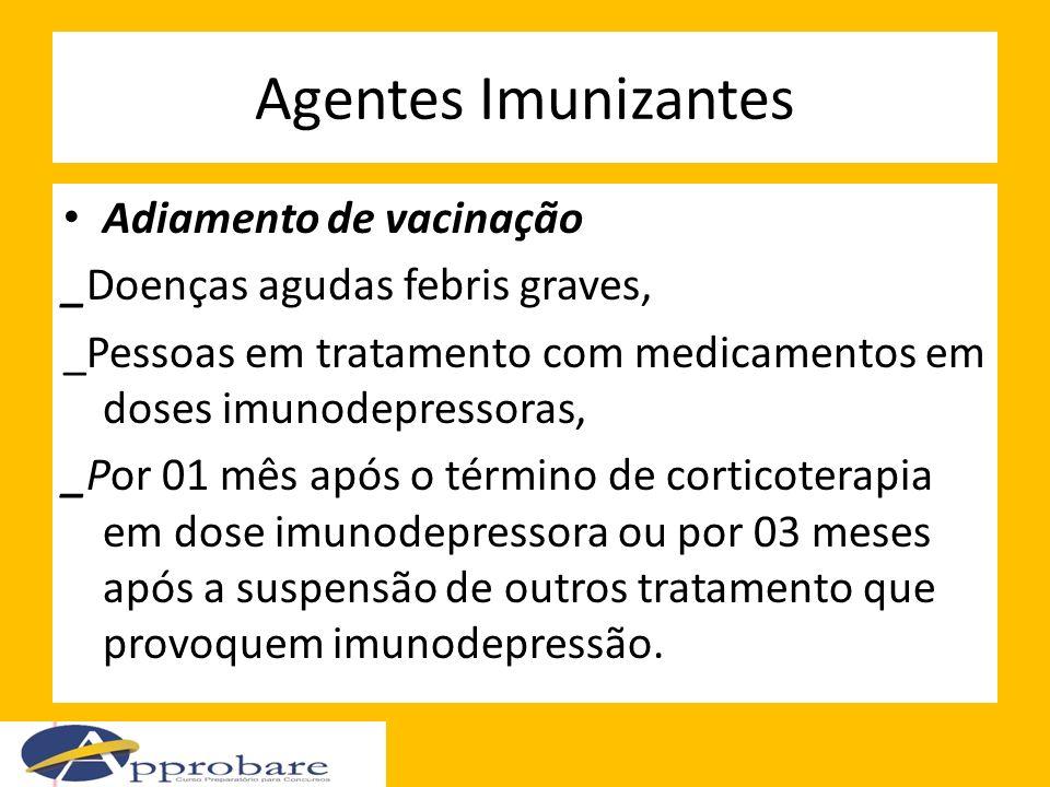 Agentes Imunizantes Adiamento de vacinação _Doenças agudas febris graves, _Pessoas em tratamento com medicamentos em doses imunodepressoras, _Por 01 m