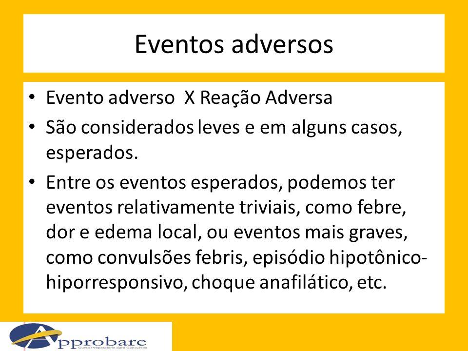 Eventos adversos Evento adverso X Reação Adversa São considerados leves e em alguns casos, esperados. Entre os eventos esperados, podemos ter eventos