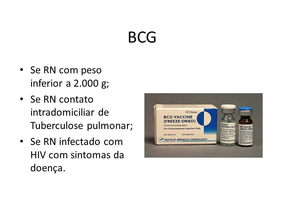BCG Se RN com peso inferior a 2.000 g; Se RN contato intradomiciliar de Tuberculose pulmonar; Se RN infectado com HIV com sintomas da doença.