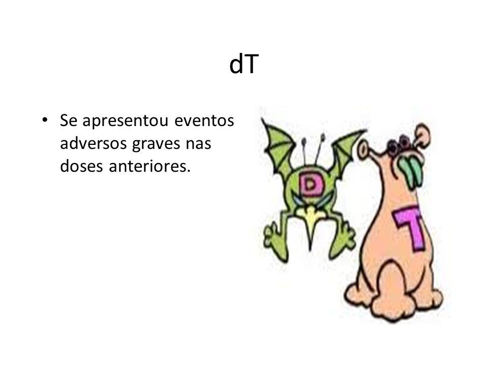 dT Se apresentou eventos adversos graves nas doses anteriores.