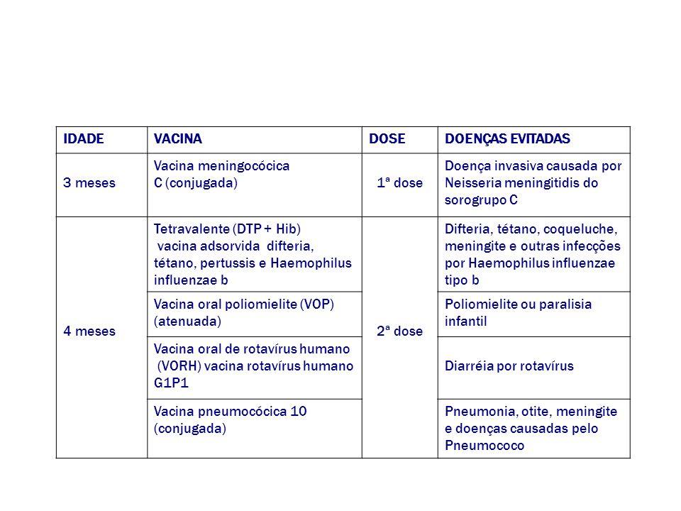 IDADEVACINADOSEDOENÇAS EVITADAS 3 meses Vacina meningocócica C (conjugada)1ª dose Doença invasiva causada por Neisseria meningitidis do sorogrupo C 4