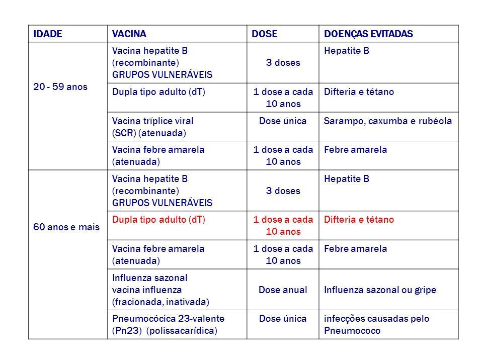 IDADEVACINADOSEDOENÇAS EVITADAS 20 - 59 anos Vacina hepatite B (recombinante) GRUPOS VULNERÁVEIS 3 doses Hepatite B Dupla tipo adulto (dT)1 dose a cad