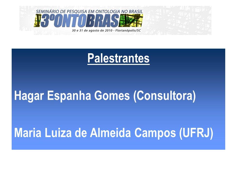 Palestrantes Hagar Espanha Gomes (Consultora) Maria Luiza de Almeida Campos (UFRJ)