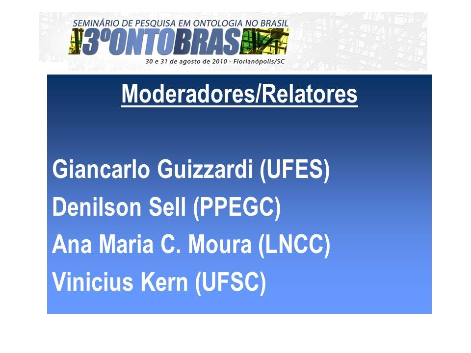 Moderadores/Relatores Giancarlo Guizzardi (UFES) Denilson Sell (PPEGC) Ana Maria C.