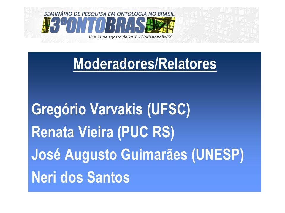 Moderadores/Relatores Gregório Varvakis (UFSC) Renata Vieira (PUC RS) José Augusto Guimarães (UNESP) Neri dos Santos