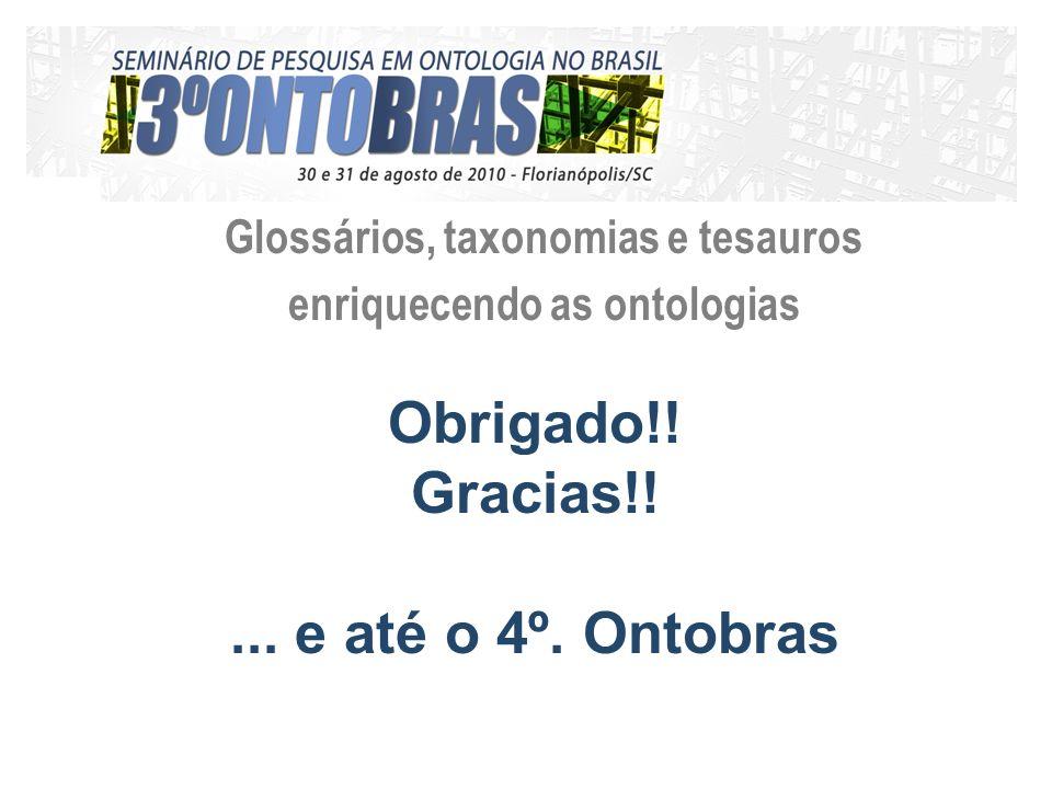 Glossários, taxonomias e tesauros enriquecendo as ontologias Obrigado!.