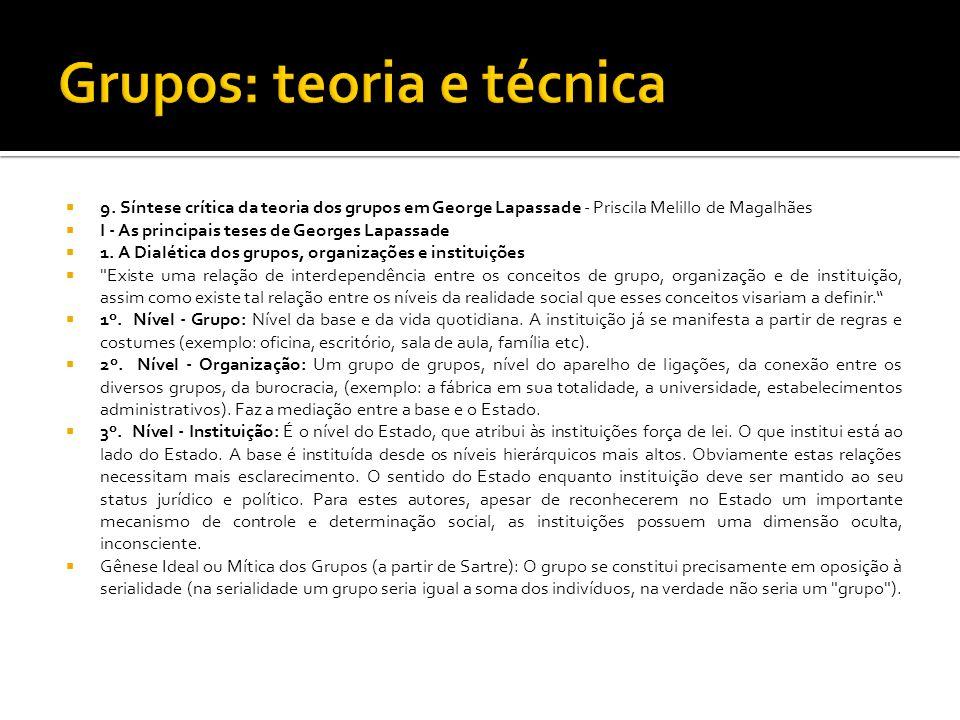 9. Síntese crítica da teoria dos grupos em George Lapassade - Priscila Melillo de Magalhães I - As principais teses de Georges Lapassade 1. A Dialétic