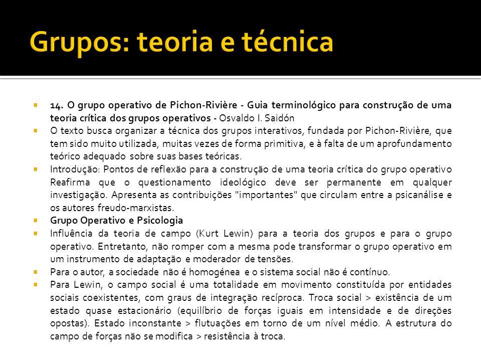 14. O grupo operativo de Pichon-Rivière - Guia terminológico para construção de uma teoria crítica dos grupos operativos - Osvaldo I. Saidón O texto b