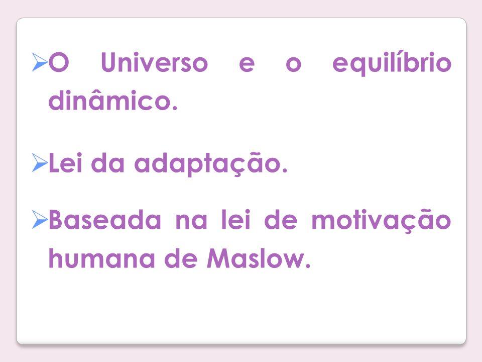 O Universo e o equilíbrio dinâmico. Lei da adaptação. Baseada na lei de motivação humana de Maslow.