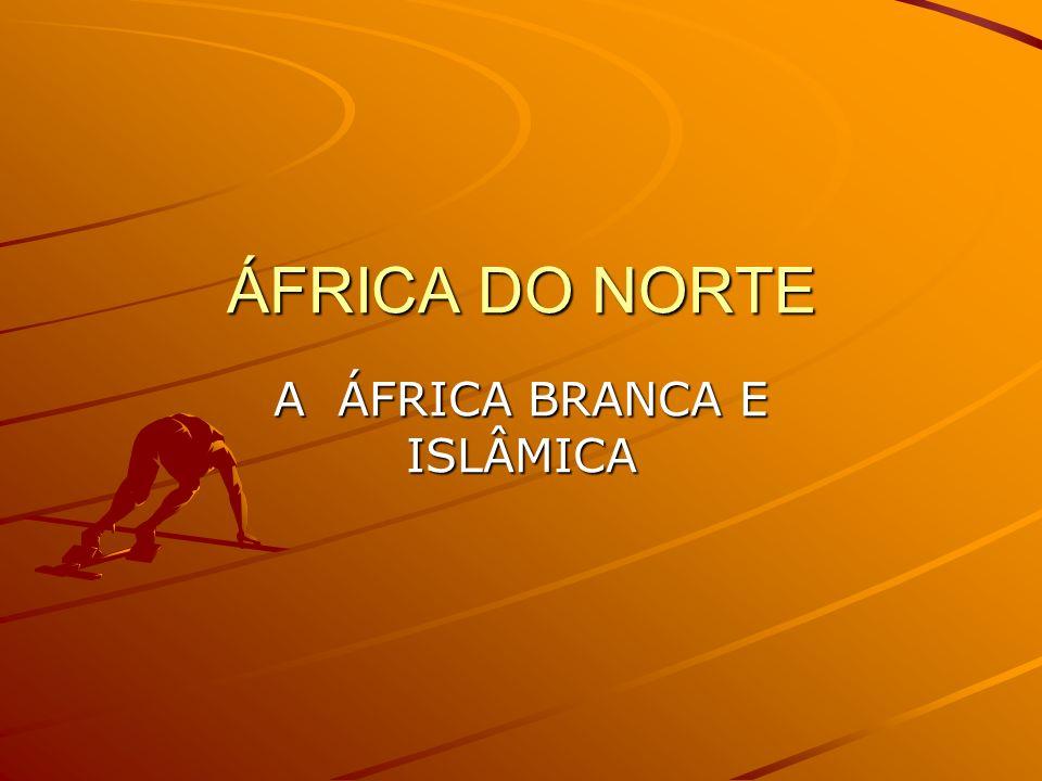 ÁFRICA DO NORTE Dividida em Magreb ( Argélia,Tunísia e Marrocos), vale do Nilo (Egito e Sudão ),Mauritânia e Líbia -população na sua maioria árabe - religião na sua maioria islâmica, variando a sua percentagem conforme a região analisada -grande parte de sua área é coberta pelo deserto do Saara e a grande parte da população está localizada na zona de clima Mediterrâneo que margeia o litoral