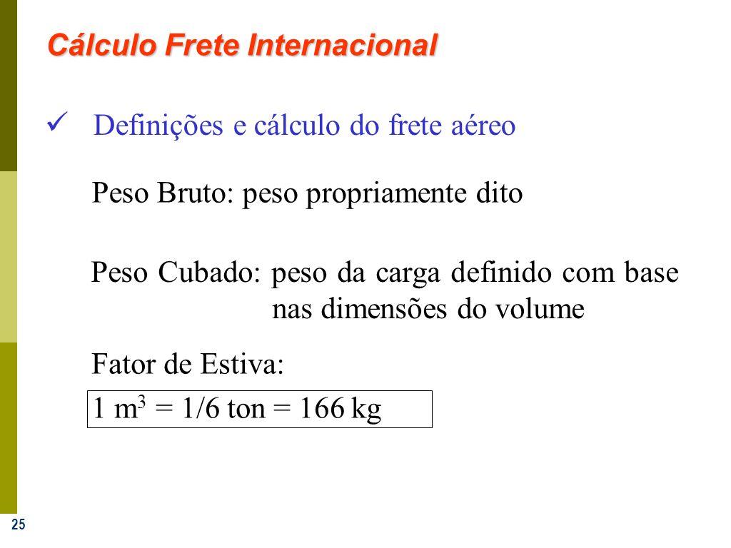 25 Definições e cálculo do frete aéreo Peso Cubado: peso da carga definido com base nas dimensões do volume Fator de Estiva: 1 m 3 = 1/6 ton = 166 kg