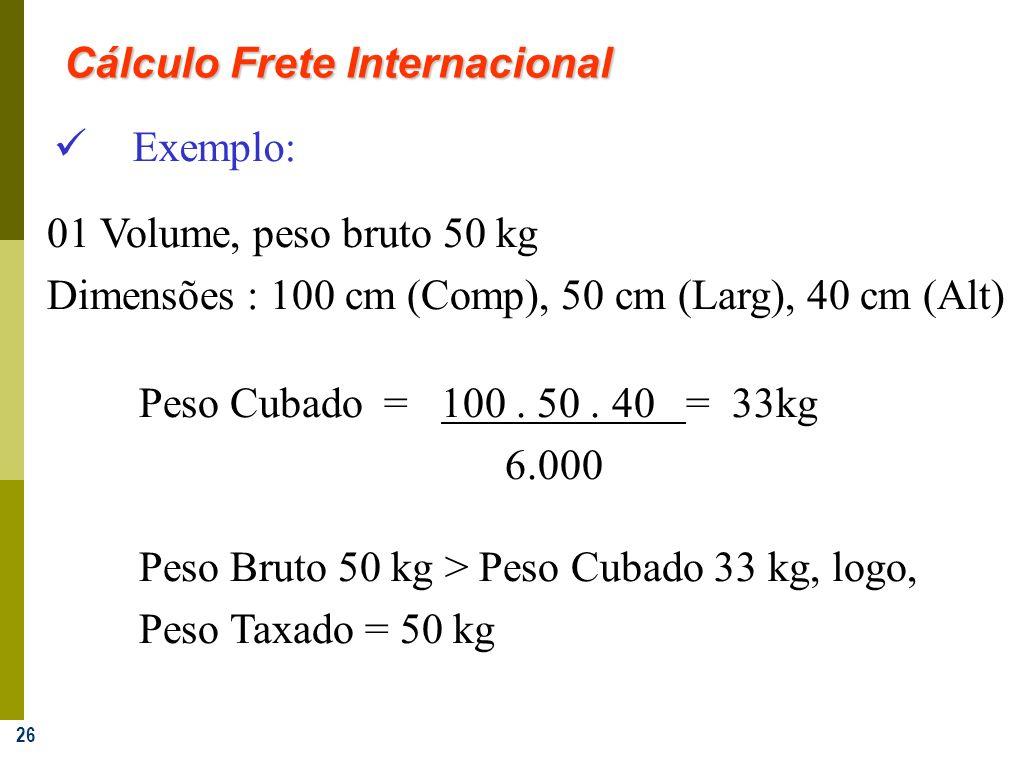 26 Exemplo: 01 Volume, peso bruto 50 kg Dimensões : 100 cm (Comp), 50 cm (Larg), 40 cm (Alt) Peso Cubado =100. 50. 40 = 33kg 6.000 Peso Bruto 50 kg >