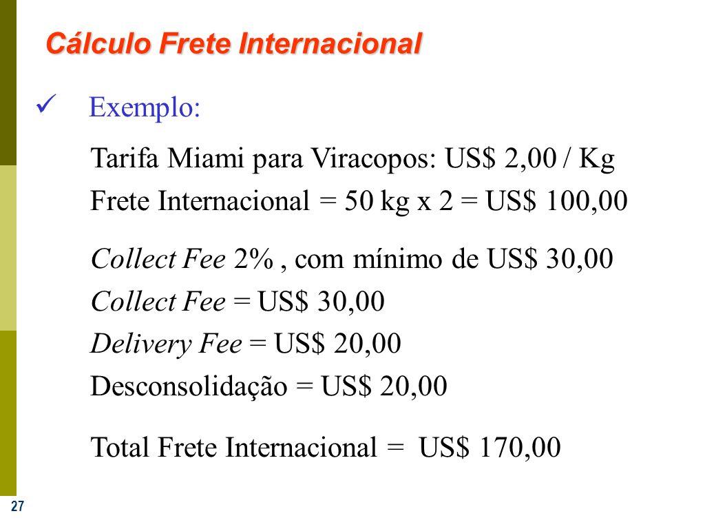 27 Exemplo: Tarifa Miami para Viracopos: US$ 2,00 / Kg Frete Internacional = 50 kg x 2 = US$ 100,00 Collect Fee 2%, com mínimo de US$ 30,00 Collect Fe