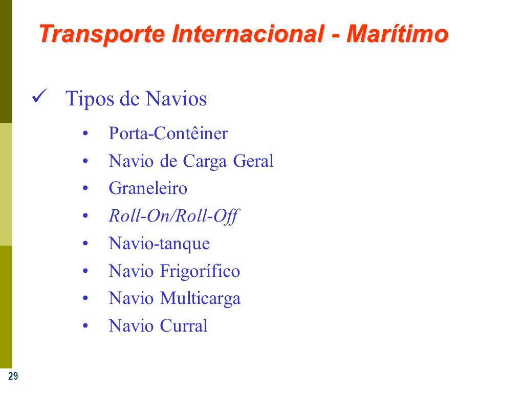 29 Transporte Internacional - Marítimo Tipos de Navios Porta-Contêiner Navio de Carga Geral Graneleiro Roll-On/Roll-Off Navio-tanque Navio Frigorífico