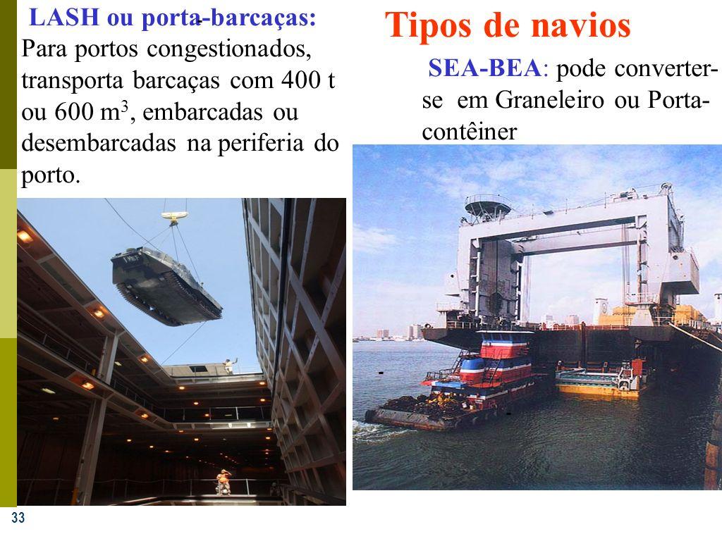 33 LASH ou porta-barcaças: - Para portos congestionados, transporta barcaças com 400 t ou 600 m 3, embarcadas ou desembarcadas na periferia do porto.