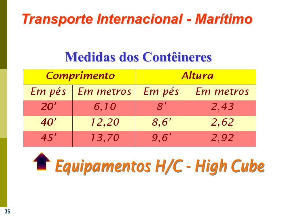 36 Transporte Internacional - Marítimo Medidas dos Contêineres