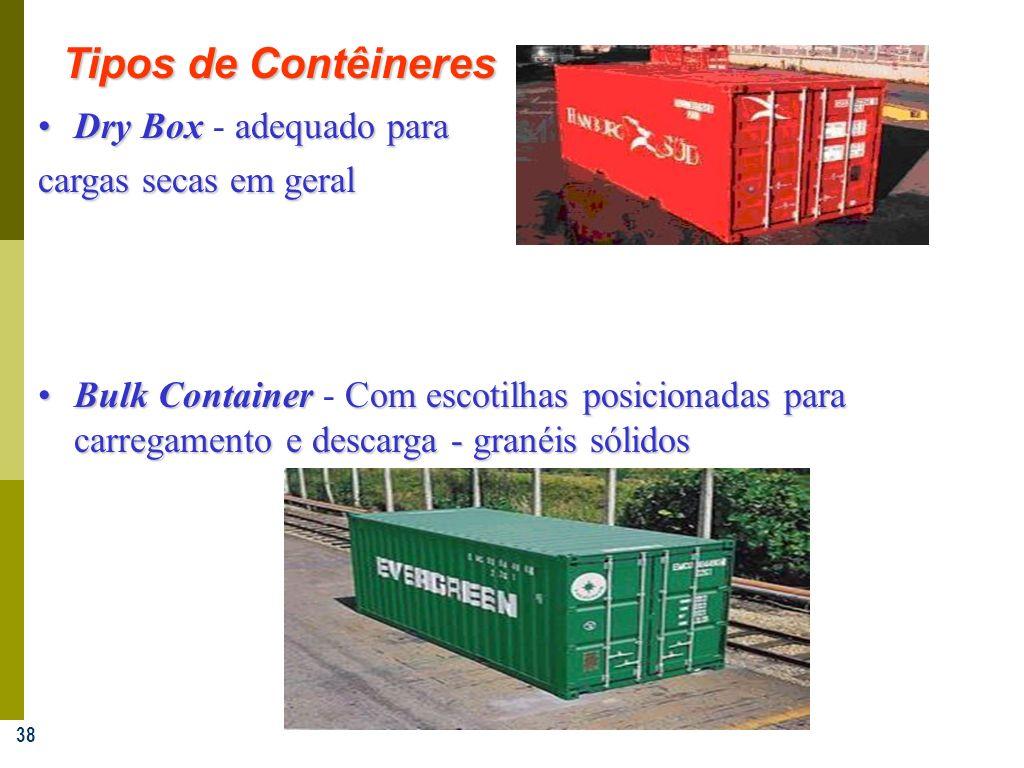 38 Tipos de Contêineres Dry Boxadequado paraDry Box - adequado para cargas secas em geral Bulk ContainerCom escotilhas posicionadas para carregamento