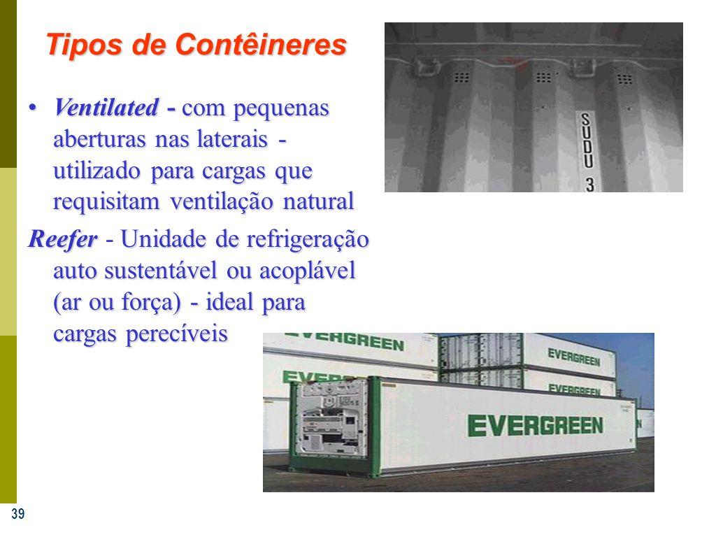 39 Ventilated - com pequenas aberturas nas laterais - utilizado para cargas que requisitam ventilação naturalVentilated - com pequenas aberturas nas l