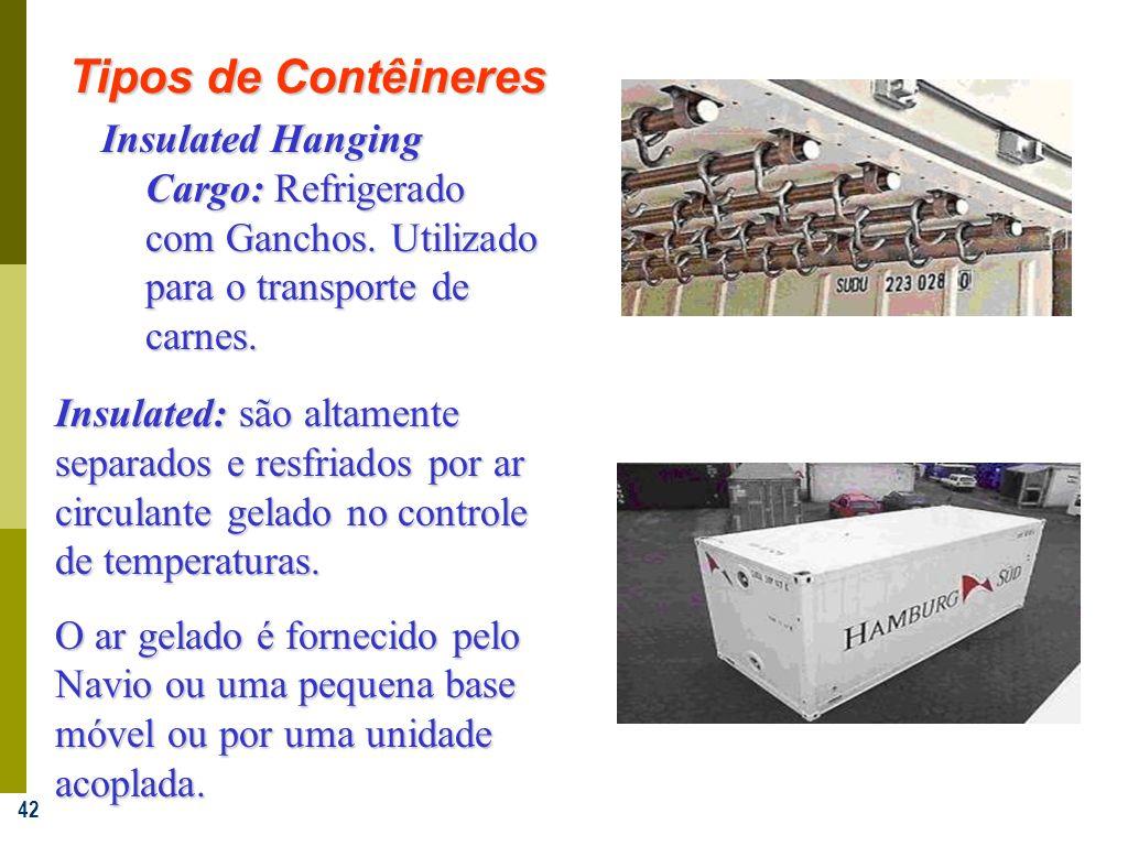 42 Insulated Hanging Cargo: Refrigerado com Ganchos. Utilizado para o transporte de carnes. Insulated: são altamente separados e resfriados por ar cir