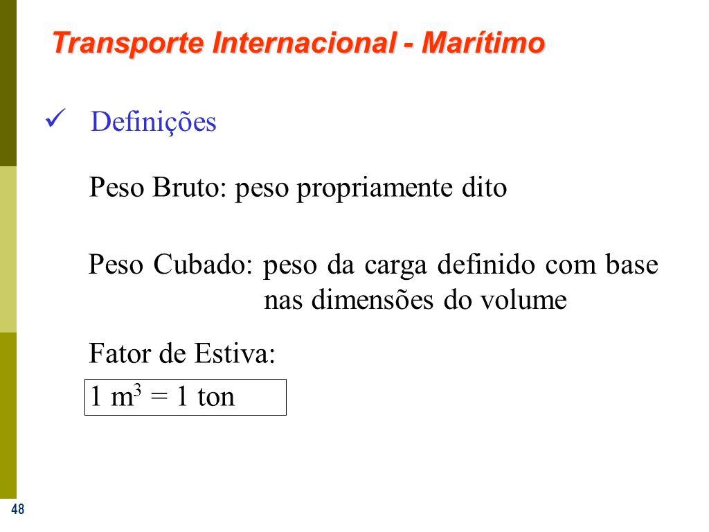 48 Definições Peso Cubado: peso da carga definido com base nas dimensões do volume Fator de Estiva: 1 m 3 = 1 ton Peso Bruto: peso propriamente dito T