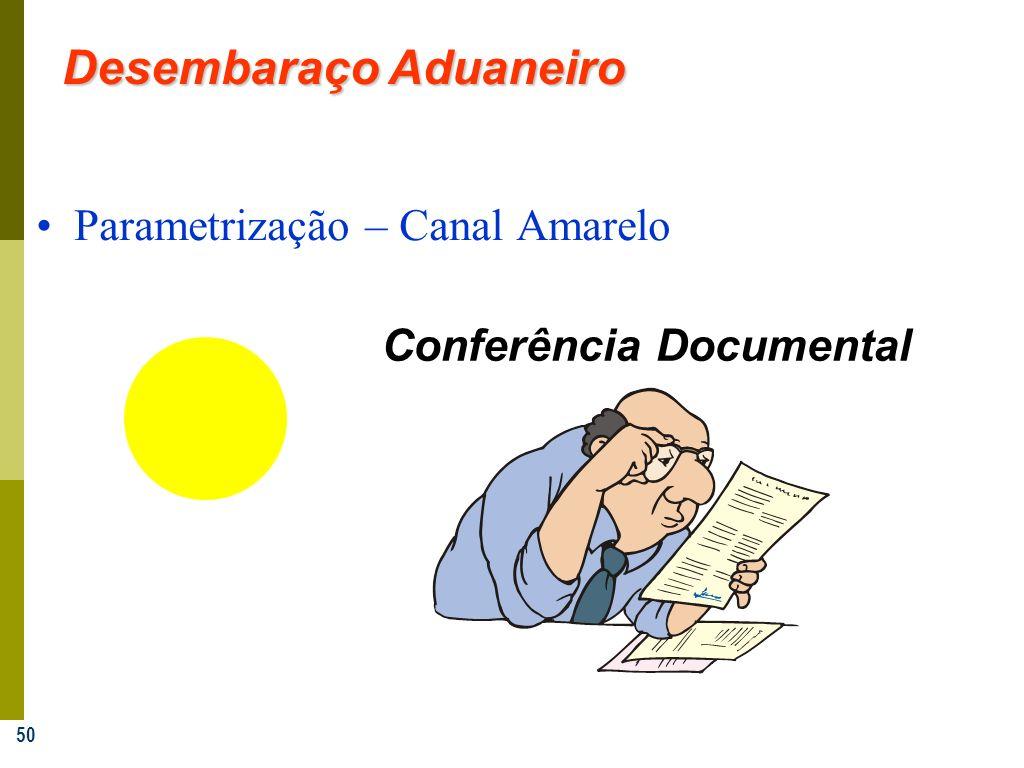 50 Parametrização – Canal Amarelo Conferência Documental Desembaraço Aduaneiro