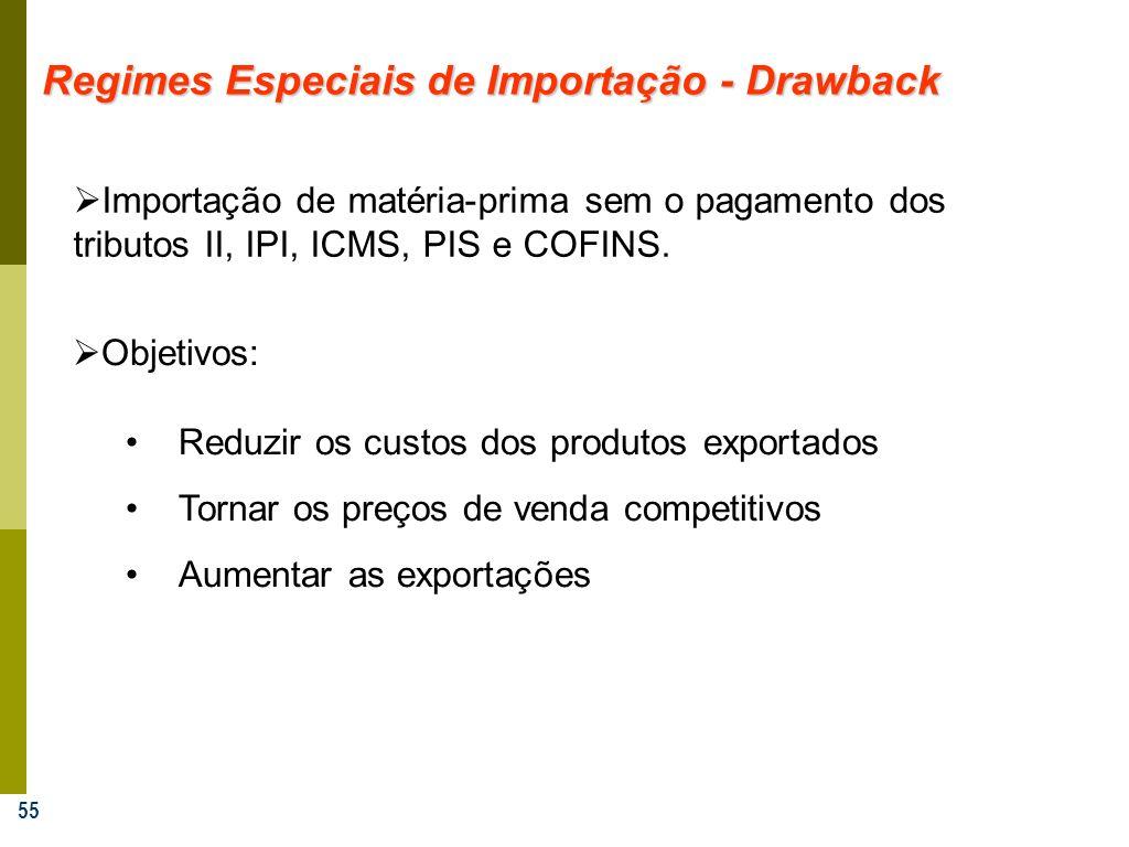 55 Regimes Especiais de Importação - Drawback Importação de matéria-prima sem o pagamento dos tributos II, IPI, ICMS, PIS e COFINS. Objetivos: Reduzir