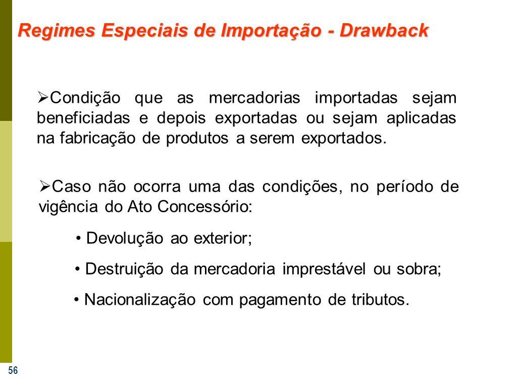 56 Regimes Especiais de Importação - Drawback Condição que as mercadorias importadas sejam beneficiadas e depois exportadas ou sejam aplicadas na fabr