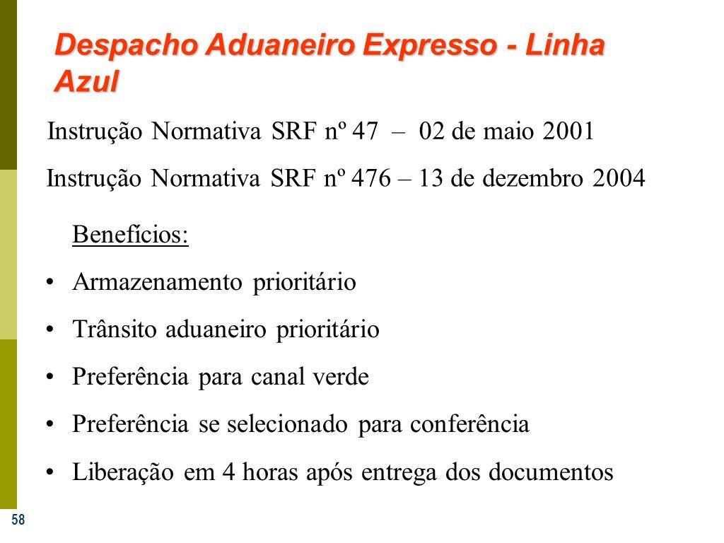 58 Despacho Aduaneiro Expresso - Linha Azul Instrução Normativa SRF nº 47 – 02 de maio 2001 Benefícios: Armazenamento prioritário Trânsito aduaneiro p