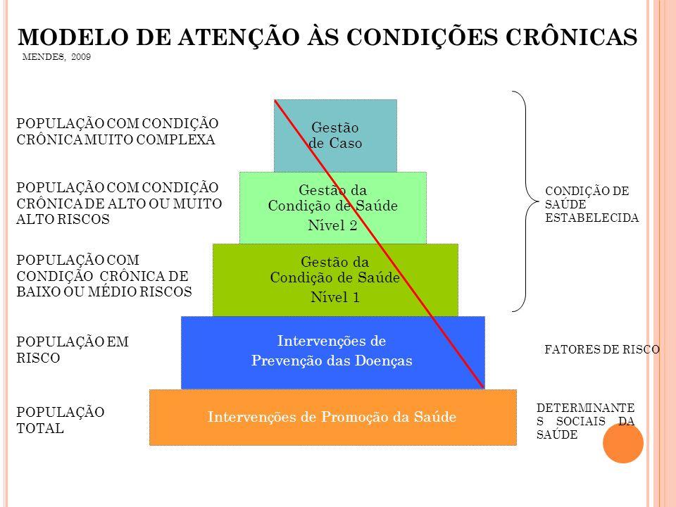 CONDIÇÃO DE SAÚDE ESTABELECIDA POPULAÇÃO TOTAL POPULAÇÃO EM RISCO POPULAÇÃO COM CONDIÇÃO CRÔNICA DE BAIXO OU MÉDIO RISCOS POPULAÇÃO COM CONDIÇÃO CRÔNI