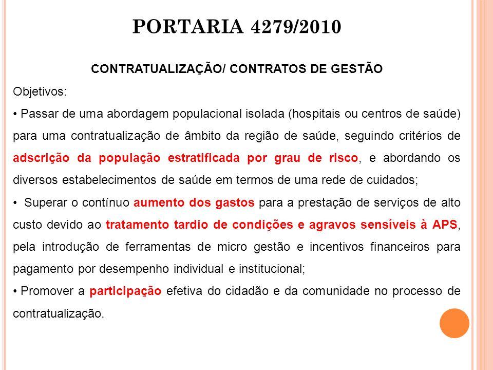 PORTARIA 4279/2010 CONTRATUALIZAÇÃO/ CONTRATOS DE GESTÃO Objetivos: Passar de uma abordagem populacional isolada (hospitais ou centros de saúde) para