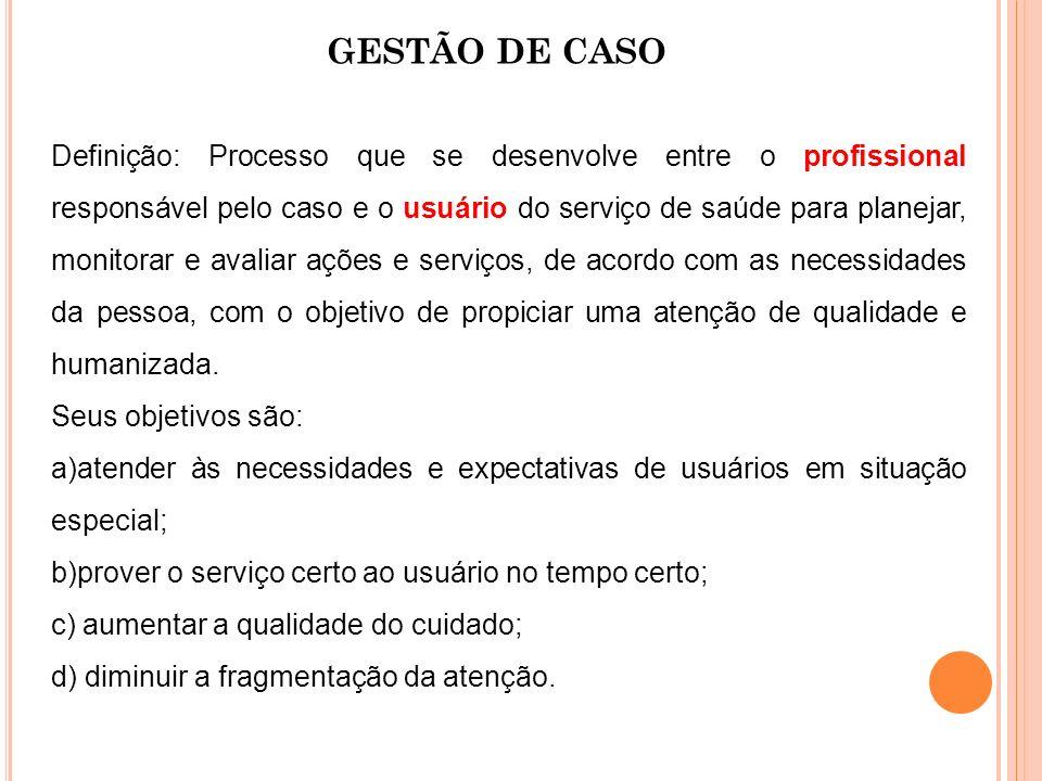 GESTÃO DE CASO Definição: Processo que se desenvolve entre o profissional responsável pelo caso e o usuário do serviço de saúde para planejar, monitor