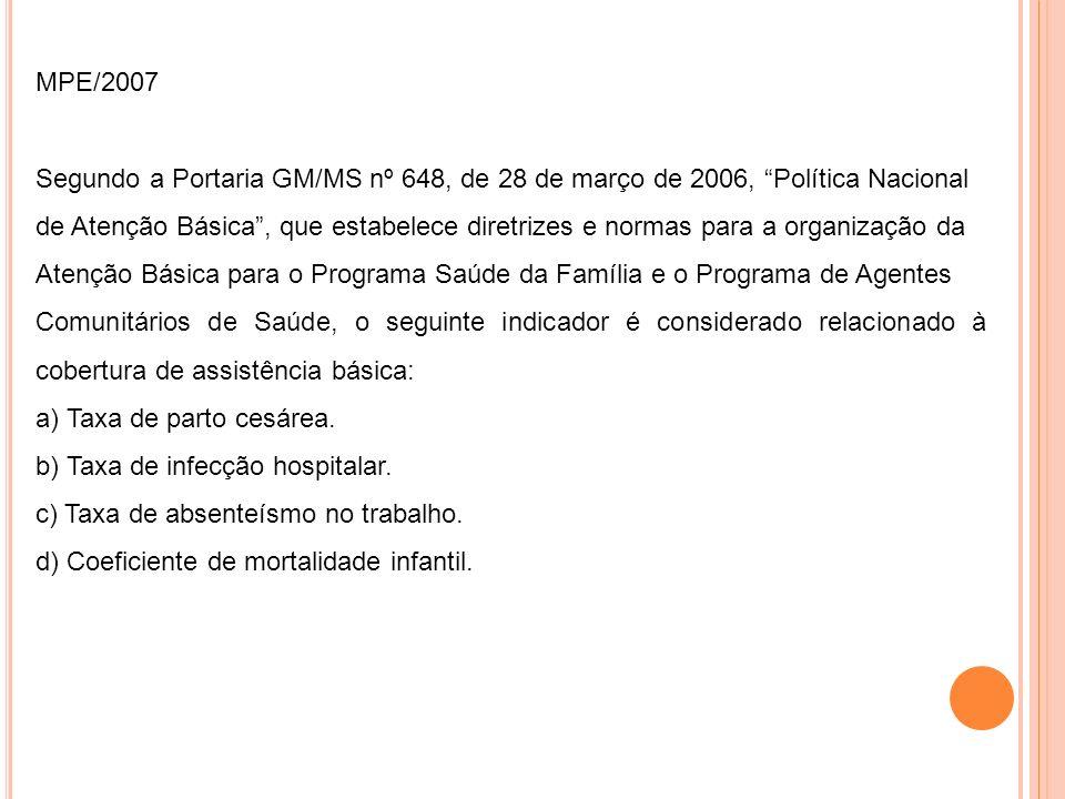 MPE/2007 Segundo a Portaria GM/MS nº 648, de 28 de março de 2006, Política Nacional de Atenção Básica, que estabelece diretrizes e normas para a organ