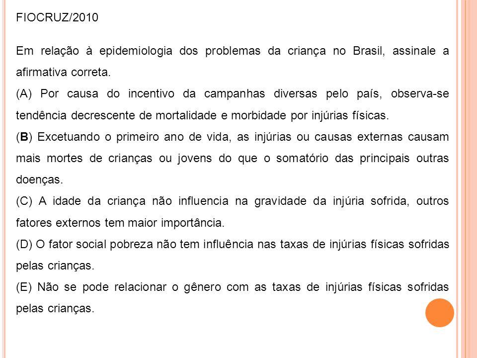 FIOCRUZ/2010 Em relação à epidemiologia dos problemas da criança no Brasil, assinale a afirmativa correta. (A) Por causa do incentivo da campanhas div