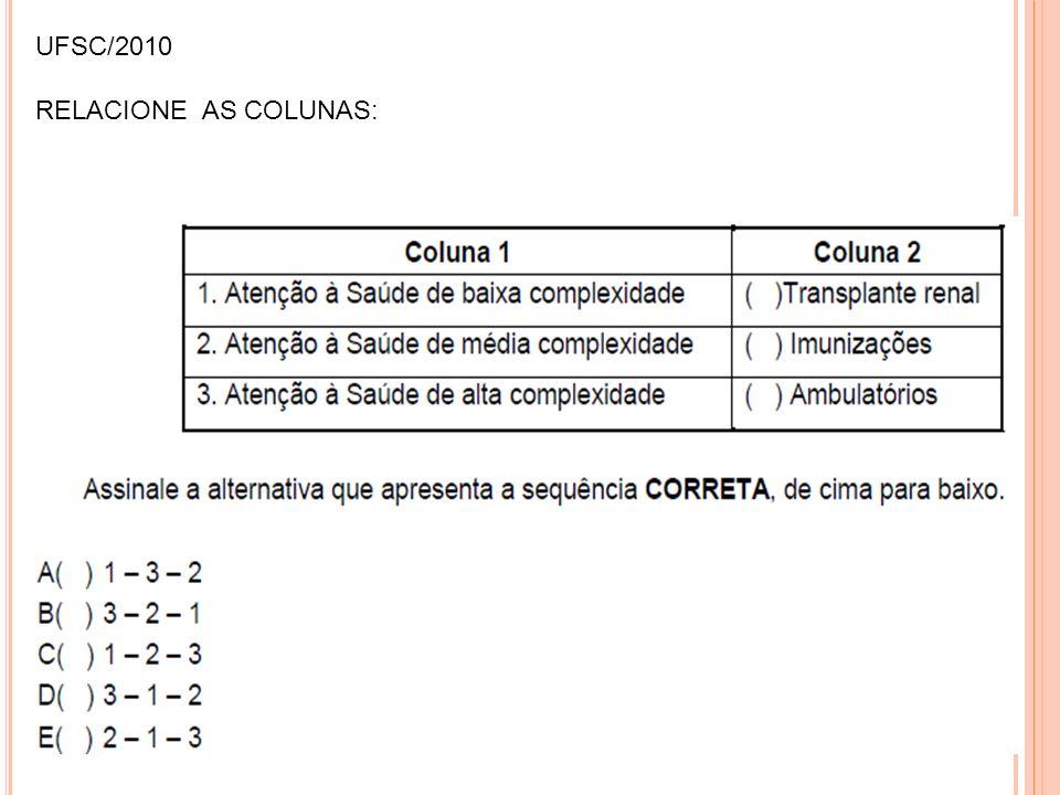 UFSC/2010 RELACIONE AS COLUNAS: