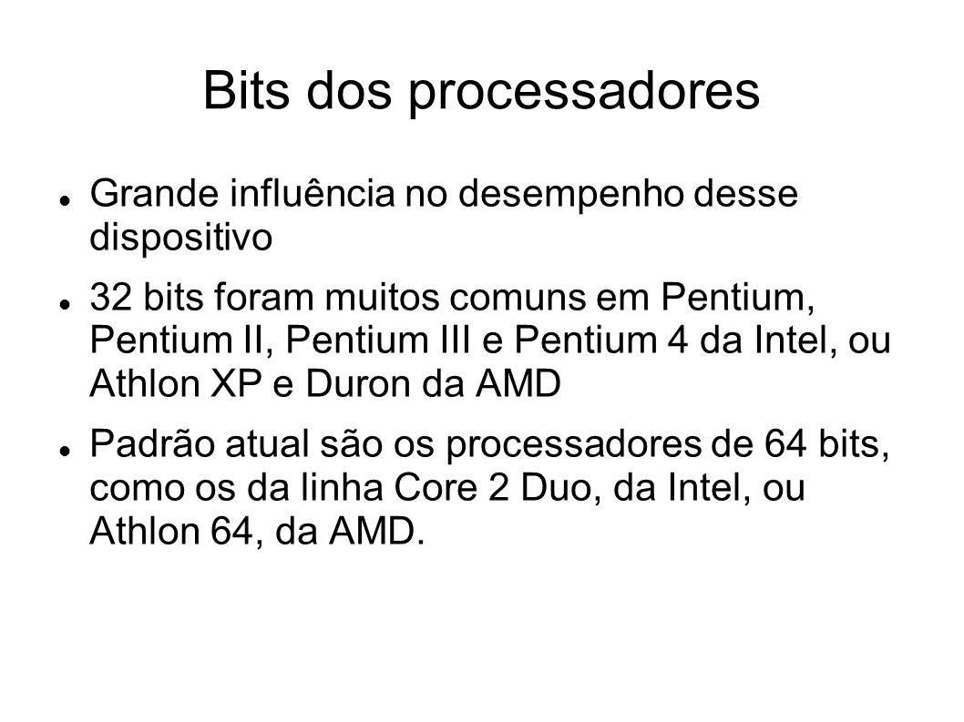 Exemplos Processador Intel Core2 Quad Q9550 Frequência de operação 2.83 GHz Memória cache 12 MB L2 Tipo de soquete Socket 775 (LGA)