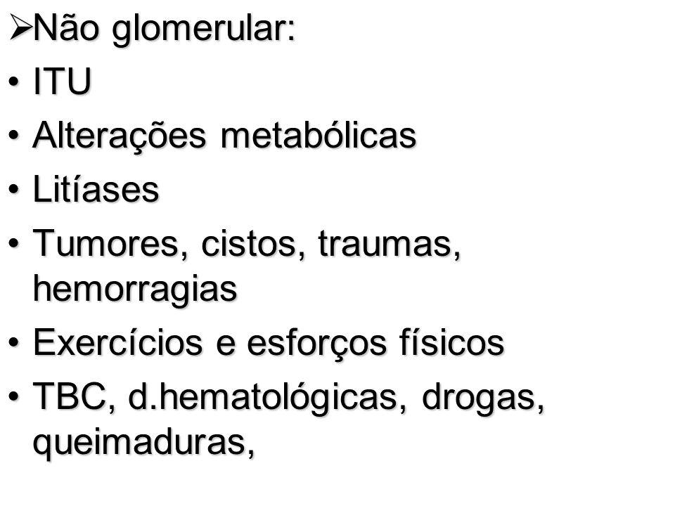 Não glomerular: Não glomerular: ITUITU Alterações metabólicasAlterações metabólicas LitíasesLitíases Tumores, cistos, traumas, hemorragiasTumores, cis