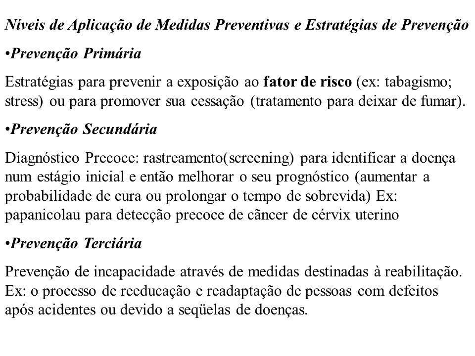 Níveis de Aplicação de Medidas Preventivas e Estratégias de Prevenção Prevenção Primária Estratégias para prevenir a exposição ao fator de risco (ex: tabagismo; stress) ou para promover sua cessação (tratamento para deixar de fumar).