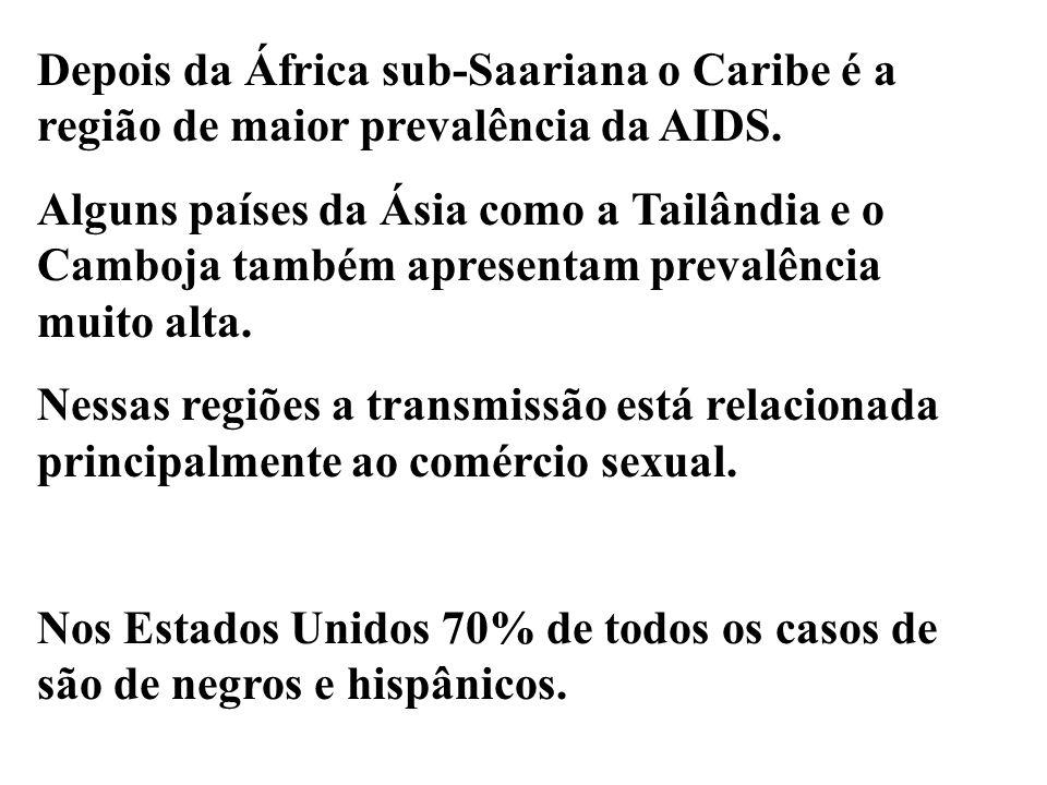 Depois da África sub-Saariana o Caribe é a região de maior prevalência da AIDS.
